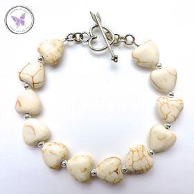 Howlite Hearts Healing Bracelet